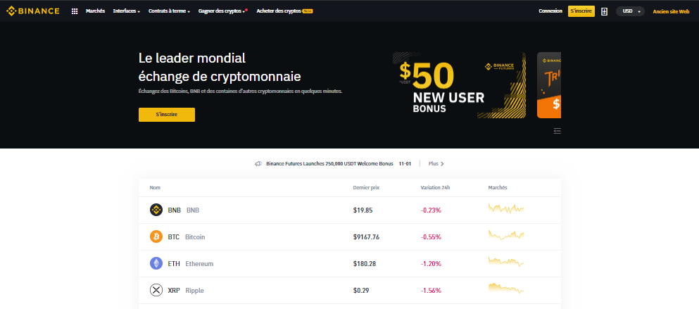 Page d'accueil Binance